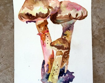 Mushroom Painting - Weeping Widow Mushrooms - Original Watercolor Mushroom Art - Beautiful Watercolor Painting of Fungi Botanical Drawing