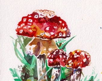 Mushroom Painting - Original Watercolor Art of a Red Mushroom - Painting for Kitchen - Unique Artwork Mushroom Cluster - Red Painting Art