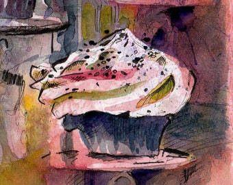 Cupcake Art - Original Watercolor Painting of Cupcakes - Watercolor and Ink Unique Painting - Colorful Painting - Foodie Gift Affordable Art