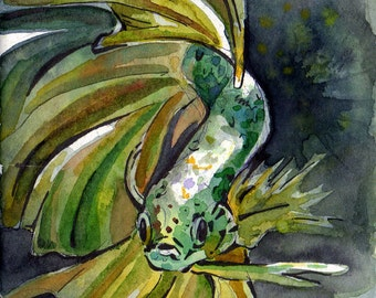 Painting of Green Betta Fish - Original Watercolor on Paper Art by Jen Tracy - Green Fish Painting