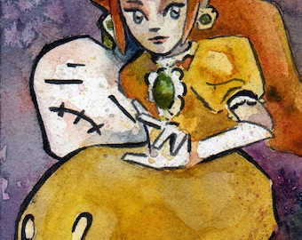 Princess Daisy Watercolor Print - Fear My Down Smash - Nintendo Fan Art Prints - Smash Bros Ultimate Art - Princess Peach Smash Bros Melee
