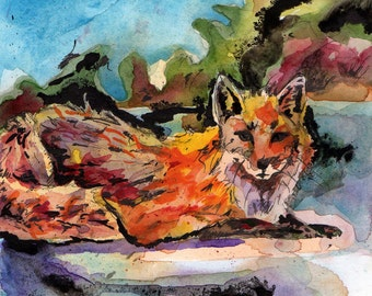 Fox Painting - Watercolor Painting of a Red Fox - Reproduction of Original Artwork - Art Prints of Animals - Fox Prints - Gifts for Vegans