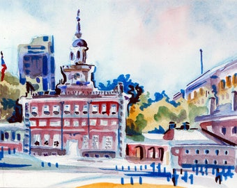 Independence Hall Philadelphia Painting - Philly Art 1776 - Fourth of July Watercolor Painting - Small Painting of the Birthplace of USA