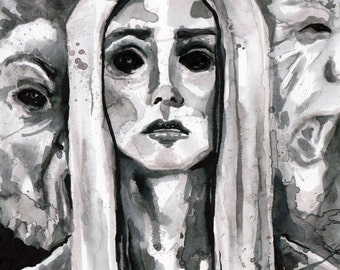 Scary Drawing of Ghost Woman - Ink Horror Illustration - The No Sleep Podcast Cover Art by Jen Tracy - Original Scary Story Art