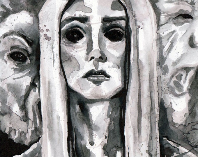 Featured listing image: Scary Drawing of Ghost Woman - Ink Horror Illustration - The No Sleep Podcast Cover Art by Jen Tracy - Original Scary Story Art