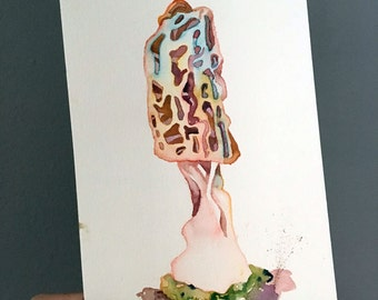 Watercolor Mushroom Gift - Original Painting of a Mushroom Art - Watercolor Art of a Morel - Blonde Morel Painting - Mycology and Fungi Art