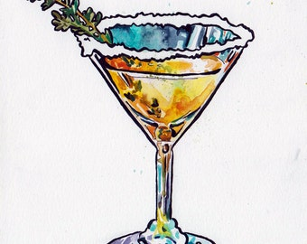 Cocktail Art - Original Watercolor and Ink Painting - Martini Glass Home Decor - Original Art of a Mixed Drink Painting for Dining Room Art