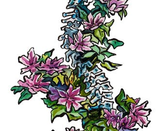 Spooky Spinal Cord Painting Reproduction - Watercolor and Ink Skeleton - Clematis Hybrids on Spine - Human Remains Art Print - Memento Mori