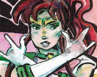 Anime Art Print - Sailor Jupiter Fan Art - Sailor Moon Art - Anime Wall Art - Print of Original Painting of Sailor Jupiter - Geeky Art Print