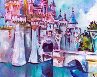 Sleeping Beauty's Castle - Print of Disneyland - Reproduction of Original Watercolor and Ink Drawing by Jen Tracy