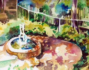 Watercolor and Ink Painting of a Water Feature at Longwood Gardens - Beautiful Watercolor Art Print - Small Painting of Water Fountain