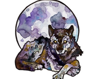 Full Moon Art Print - Watercolor Painting Reproduction of Full Wolf Moon - Wolf Art including Moon Dog Art - Mystical Decor for Witch Friend