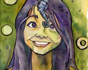 See the Sea Horse - Original Watercolor Portrait of Girl with Sea Horse - Colorful Illustration by Jen Tracy