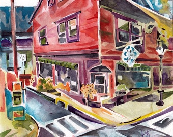 Urban Sketch in Watercolors - Painting of Art Gallery Original Watercolor and Ink Plein Air Painting on Paper - City Street Art Gift Unique