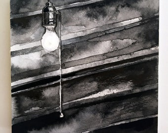 Spooky Art Light Bulb Ink Drawing- Horror Story Art - No Sleep Podcast Art Print - Scary Story Art - Dark Halloween Decoration Scary Prints