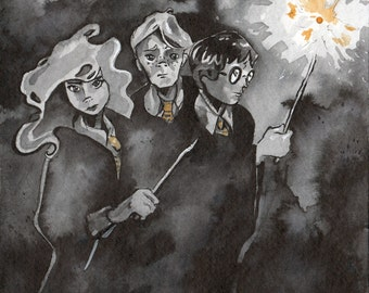 Harry Potter Art Print - Reproduction of Ink Drawing of Harry Hermione Ron - Painting of Harry Potter - Literature Art Harry Potter Prints