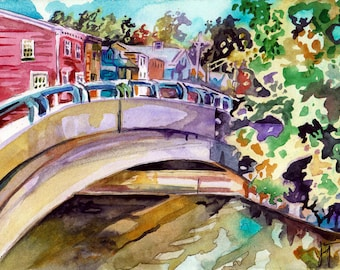 Plein Air Painting of a Bridge - Watercolor Painting by Jen Tracy - Original Landscape Art of Town in New Jersey