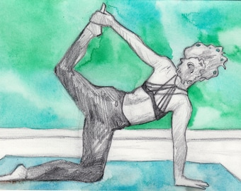 Royal Sunbird Pose Pencil and Watercolor Drawing - Yoga Art - Original Art - Graphite Drawing of Yoga Pose Royal Sunbird Art for Yoga Studio