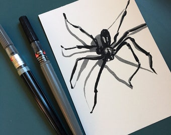 Brown Recluse Ink Drawing for Inktober 2018 Original Art - Brush Pen Spider Art by Jen Tracy - Brown Recluse Spider in Black Grey and White