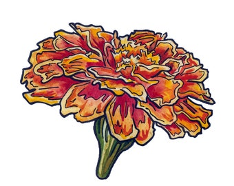 Marigold Painting in Watercolor and Ink - Watercolor Flower Art - Original Flower Painting on Paper by Jen Tracy - Watercolor Marigold