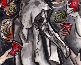 Halloween Art - Plague Mask Costume Party - Original Watercolor and Ink Painting - No Sleep Art Podcast Cover - Spooky Illustration in Ink