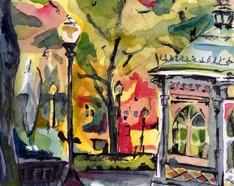Landscape Painting - Genuine and Entertaining - Original Watercolor and Ink Painting of Philly - Plein Air Painting of Philadelphia Park