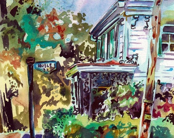 Watercolor Plein Air Painting - Original Art Colorful House Portrait by Jen Tracy - Unique Watercolor Art of a Victorian House in New Jersey