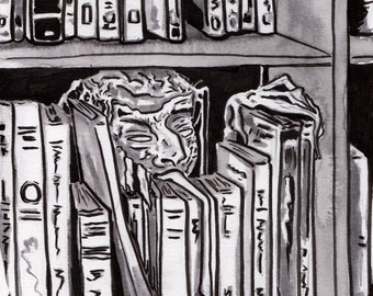 Print of Library Ghost with Long Tongue - Horror Art for Book Lovers - Haunted Library Reproduction of Ink Drawing - Halloween Decoration