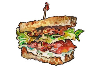 Ranch BLT Food Print - Watercolor Painting of a Sandwich Food Decor - Kitchen Picture - 5 x 7 Standard Frame Sized Print - Food Art
