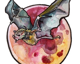 Blood Moon Watercolor Painting Celebrating October's Hunter's Moon - Vampire Bat Flying Over Full Moon Art - Original Painting of Moon