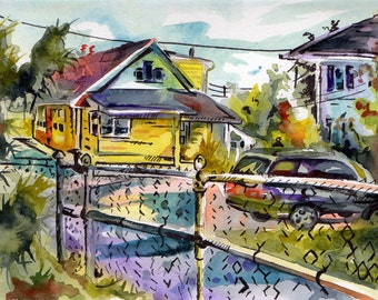 Original Work of Art - Painting of New Jersey Home - Original Watercolor and Ink on Paper Paintings - Watercolor Landscape - House Portrait