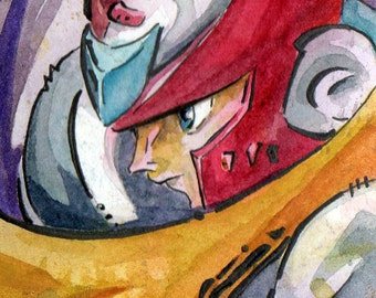 Zero Art Prints - Mega Man Painting - Wall Hanging for Geeks - Watercolor Video Game Art - Gifts for Geeks - Anime Art - Artsy Gamer Gifts