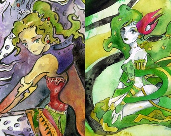 Final Fantasy Rydia and Final Fantasy Terra Print Package Deal - Art Prints of Video Game Watercolors - Final Fantasy Ladies Anime Art Print