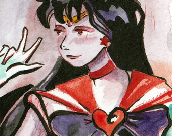 Sailor Mars Fan Art - Sailor Scout Art - Print of Original Painting of Sailor Mars - Sailor Moon Art Print - Wall Art by Jen Tracy - Anime