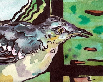 Arkansas's State Bird - Prints of Original Watercolor Painting of a Mockingbird - Bird Art by New Jersey Artist - Arkansas State Pride Art