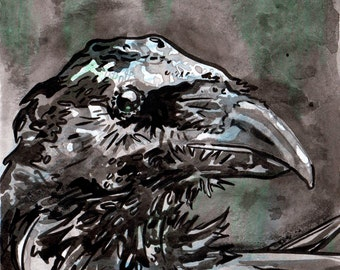 Raven Painting on Paper - Crow Art - Inky Raven - Original Art of a Bird by Jen Tracy - Ink Painting - Small Ink Wall Art - Inktober Raven