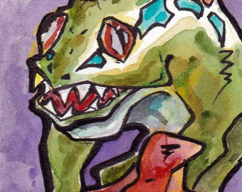 World of Warcraft Murloc - Print of Original Watercolor and Ink Painting - Video Game Art Prints - WoW Fan Art - Colorful Gamer Gifts Art