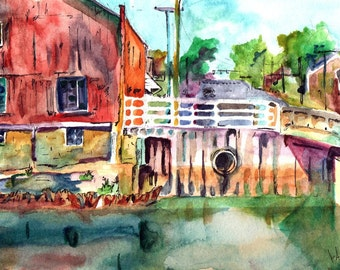 Original Watercolor and Ink Painting - New Jersey Artist - Landscape Painting of River - Plein Air Painting by New Jersey Artist - Barn Art