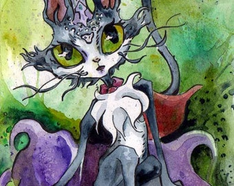 Anime Art Print Gift for Gamer - MMO RPG Final Fantasy XI Fan Art - Print of Painting of Cait Sith - Cait Sith Prints - Art Prints for Geeks