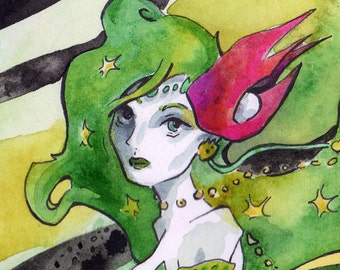 Print of Watercolor and Ink Painting of Rydia from Final Fantasy IV - Video Game Fan Art - Videogame Anime Art Prints for Final Fantasy Fan