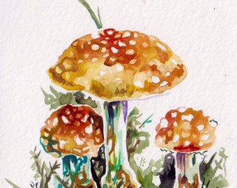 Mushroom Art in Watercolor - Original Painting of Yellow Mushrooms - Watercolor Mushrooms Art - Whimsical Art - Original Artwork on Paper