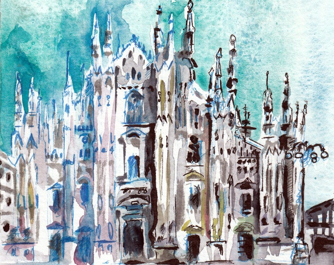 Featured listing image: Piazza Del Duomo Milan, Italy - Print of Original Watercolor and Ink Painting by Jen Tracy - European Cathedral Art Prints - Small Art Piece