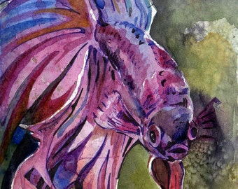 Watercolor Painting of Fish - Purple Painting of Purple Betta Fish - Original Watercolor on Paper Artwork - Violet Fish Painting - Pet Lover