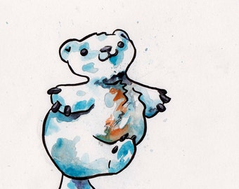 Cute Art of a Polar Bear - Original Watercolor and Ink Polar Bear Painting - Snow Bear Adorable Cartoon Polar Bear Art - Nursery Art White