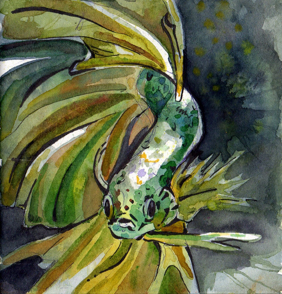 Painting of Green Betta Fish - Original Watercolor on Paper Art by ...