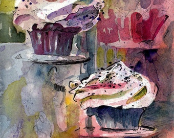 Watercolor Painting of Cupcakes - For the Love of Cupcakes - Original Watercolor and Ink Painting