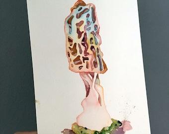Watercolor Mushroom - Original Painting of a Mushroom - Watercolor Art of a Morel - Blonde Morel Painting - Mycology and Fungi Art