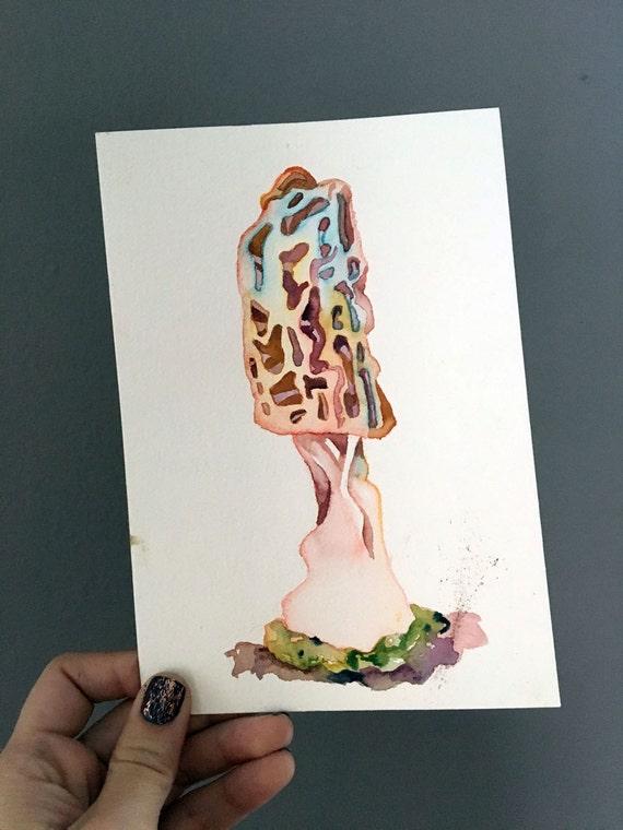 Watercolor Mushroom Gift Original Painting Of A Mushroom Art Etsy