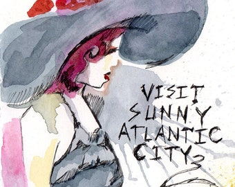 Visit Sunny Atlantic City - Dr. Sketchy's Anti Art School - Philly Branch - Watercolor and Ink Painting by Jen Tracy
