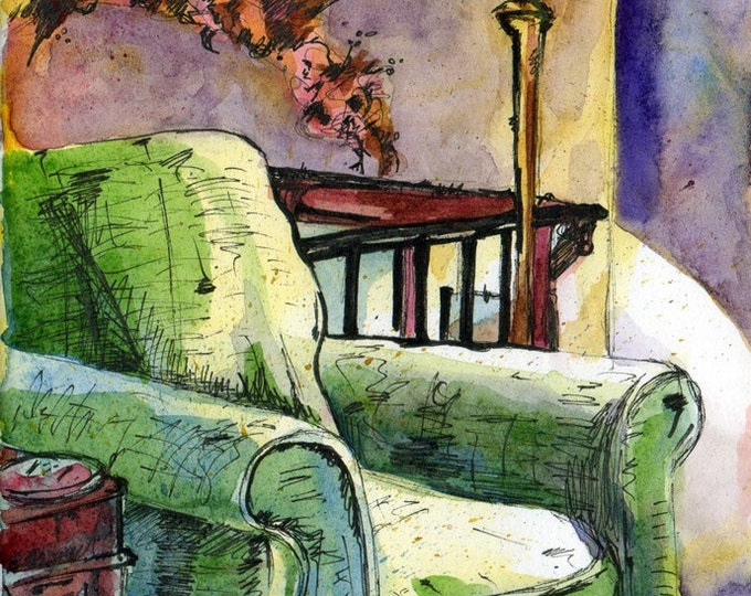 Featured listing image: Art Print - Comfy Chair - Reproduction of Watercolor and Ink Painting - Painting of an Interior